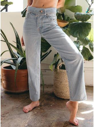 Patchwork Pockets Shirred midi Casual Elegant Denim & Jeans