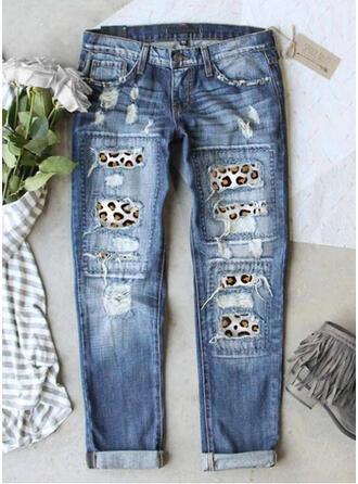 Patchwork Ripped Leopard Tribal Vintage Denim & Jeans