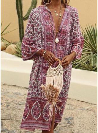 Floral Print V-Neck Fresh Plus Size Boho Cover-ups Swimsuits