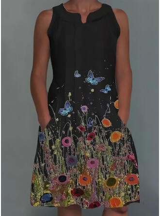 Floral/Animal Print Sleeveless Shift Above Knee Casual Dresses