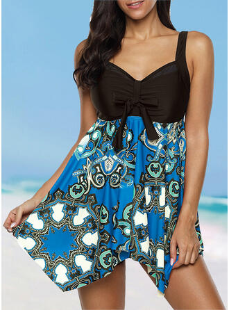 Floral Backless Strap U-Neck Fresh Cute Plus Size Swimdresses Swimsuits