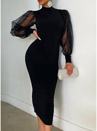 Solid Long Sleeves/Lantern Sleeve Bodycon Little Black/Party/Elegant Midi Dresses