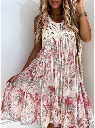Print Sleeveless A-line Knee Length Casual/Boho/Vacation Skater Dresses