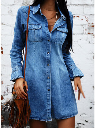 Solid Long Sleeves Sheath Above Knee Denim Dresses