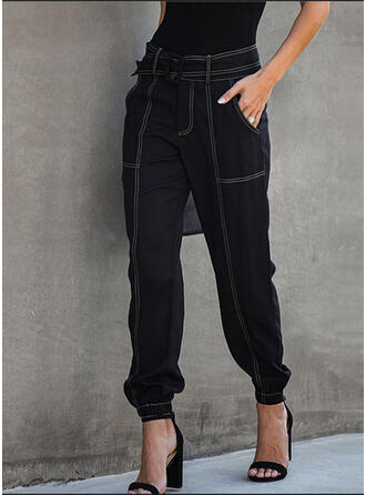 Solid Patchwork Pockets Shirred midi Casual Sporty Plain Pants