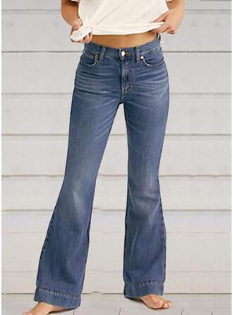 Print Shirred Plus Size Long Elegant Sexy Skinny Denim & Jeans