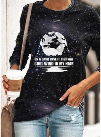 Animal Print Halloween Figure Round Neck Long Sleeves Sweatshirt