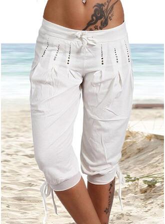 Pockets Shirred Plus Size midi Boho Casual Plain Pants