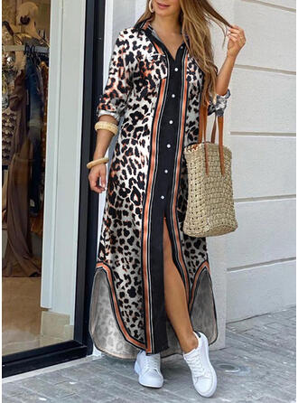 Leopard Long Sleeves Shift Casual/Vacation Maxi Dresses