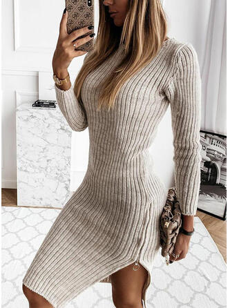 Solid Long Sleeves Sheath Knee Length Little Black/Casual Sweater Dresses
