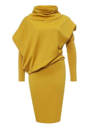 Solid Long Sleeves Bodycon Knee Length Vintage/Elegant Dresses