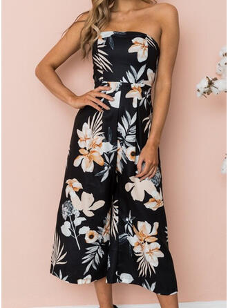 Floral Print Strapless Sleeveless Casual Sexy Jumpsuit