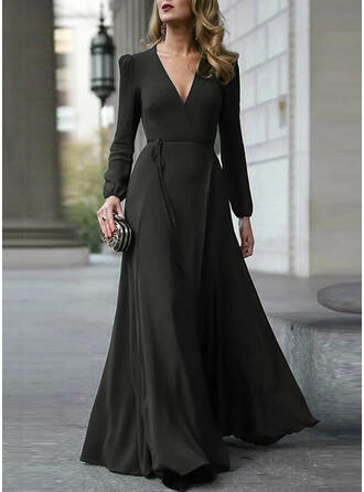 Solid Long Sleeves A-line Little Black/Party/Elegant Maxi Dresses