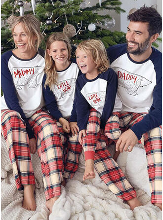 Bear Plaid Cartoon Family Matching Christmas Pajamas