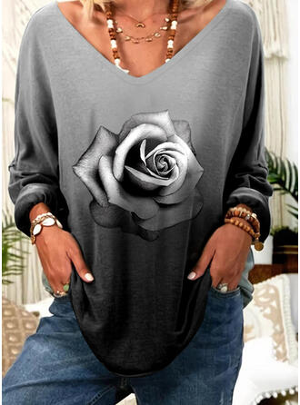 Print Floral Gradient V-Neck Long Sleeves Casual T-shirts