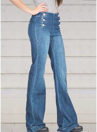 Patchwork Shirred Plus Size Long Elegant Sexy Skinny Denim & Jeans