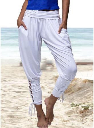 Solid Pockets Shirred midi Casual Solid Yoga Plain Pants