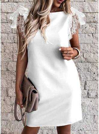 Lace/Solid Short Sleeves Sheath Above Knee Sexy/Party Tunic Dresses