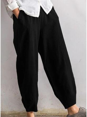 Solid Pockets Shirred midi Casual Solid Plain Pants