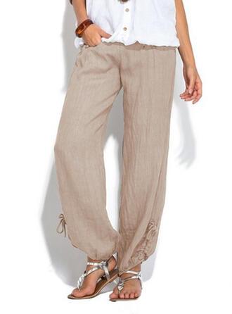 Pockets Shirred Plus Size Long Boho Solid Plain Pants