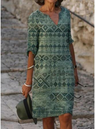 Print 1/2 Sleeves Shift Knee Length Casual/Boho/Vacation Dresses