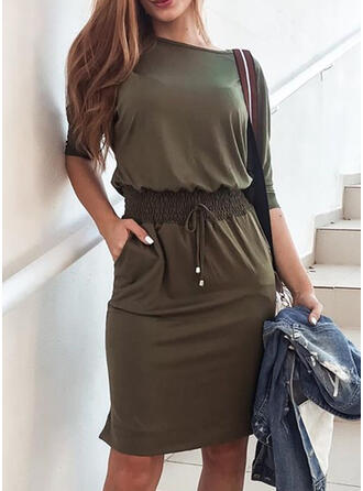 Solid Short Sleeves Sheath Knee Length Casual Dresses