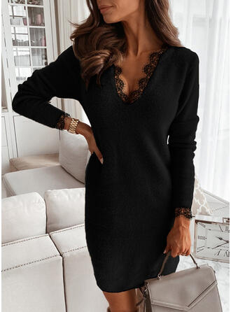 Lace/Solid Long Sleeves Bodycon Above Knee Little Black/Casual Sweater Dresses