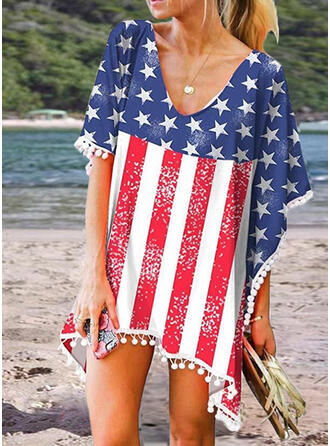 Print 1/2 Sleeves/Batwing Sleeves Shift Above Knee Casual/Vacation Dresses