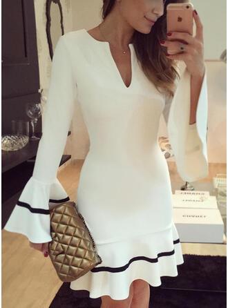 Print Long Sleeves/Flare Sleeves Sheath Above Knee Party/Elegant Dresses