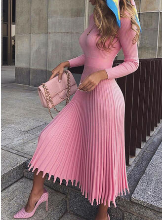 Solid Long Sleeves A-line Sweater/Skater Casual/Elegant Midi Dresses