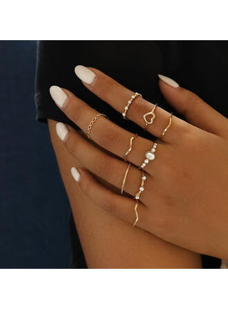Fashionable Alloy Crystal Jewelry Sets Rings (Set of 9)