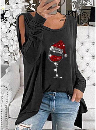 Sequins Cold Shoulder Long Sleeves Christmas Blouses