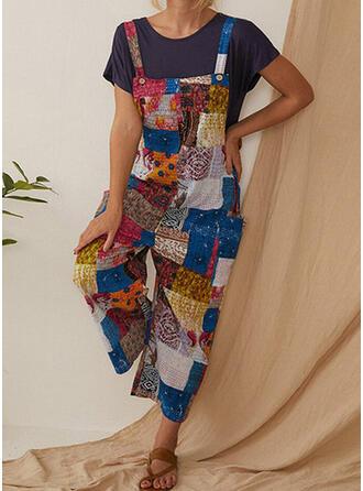 Color Block Print Plus Size Long Boho Casual Jumpsuits & Rompers