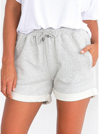 Pockets Shirred Above Knee Casual Sporty Shorts