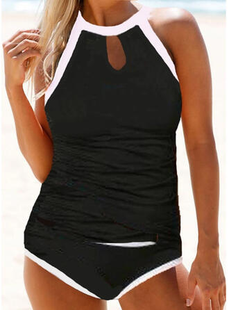 Solid Color Round Neck High Neck Sports Vintage Tankinis Swimsuits