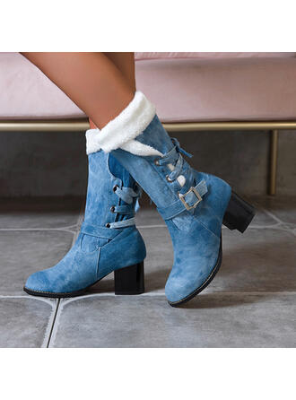 Women's Denim Chunky Heel Mid-Calf Boots Pointed Toe With Lace-up shoes