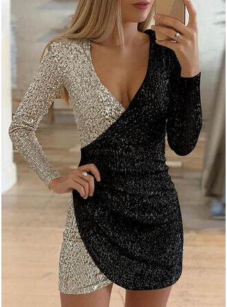 Sequins/Color Block Long Sleeves Bodycon Above Knee Party Dresses