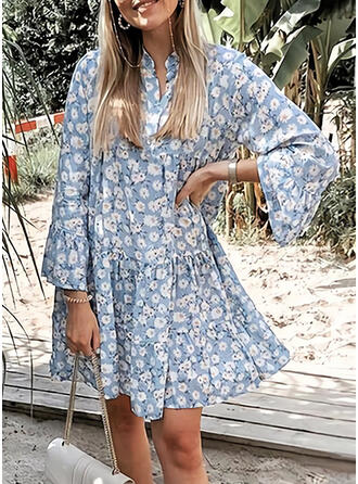 Print/Floral Long Sleeves/Flare Sleeves Shift Above Knee Casual/Vacation Dresses