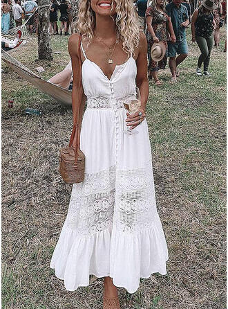 Lace/Solid Sleeveless A-line Sexy/Party/Vacation Midi Dresses