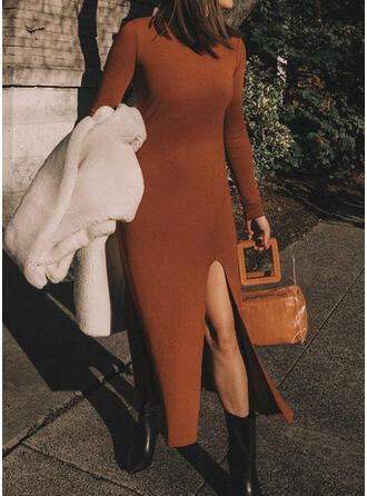 Solid Long Sleeves Sheath Sweater Casual Midi Dresses