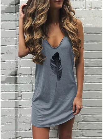 Print Sleeveless Shift Above Knee Casual Tank Dresses