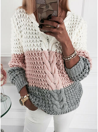 Color Block Cable-knit V-Neck Casual Sweaters