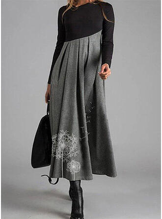 Print/Color Block Long Sleeves A-line Skater Casual Maxi Dresses
