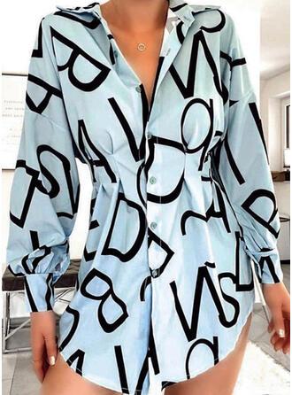 Print Long Sleeves/Lantern Sleeve Sheath Above Knee Casual/Vacation Dresses