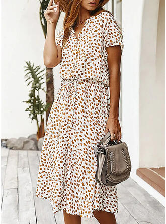 Print Short Sleeves A-line Casual/Elegant Midi Dresses