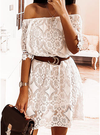Lace/Solid 1/2 Sleeves A-line Above Knee Casual/Vacation Dresses