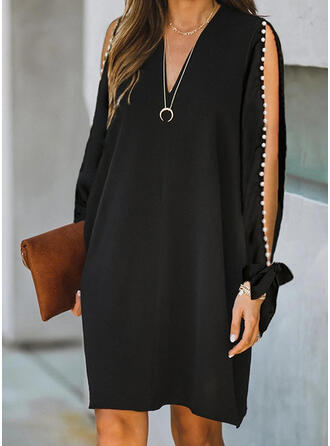 Solid/Beaded Long Sleeves Shift Knee Length Little Black/Elegant Tunic Dresses