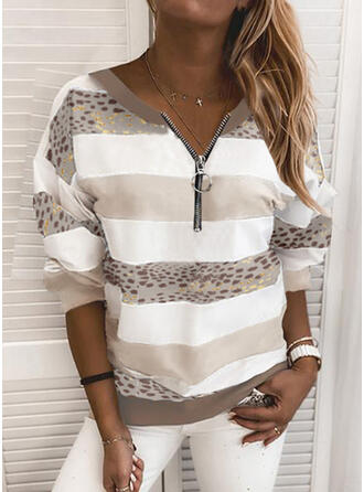 Color Block Leopard V-Neck Long Sleeves Sweatshirt