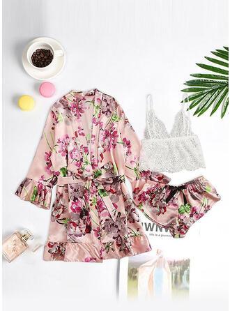 Polyester Spandex Floral Deep V Sexy Eyelash Lace 3pcs Cami Set Robe
