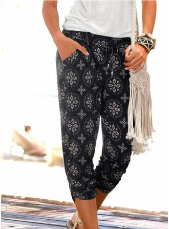 Print Shirred Long Casual Elegant Pants